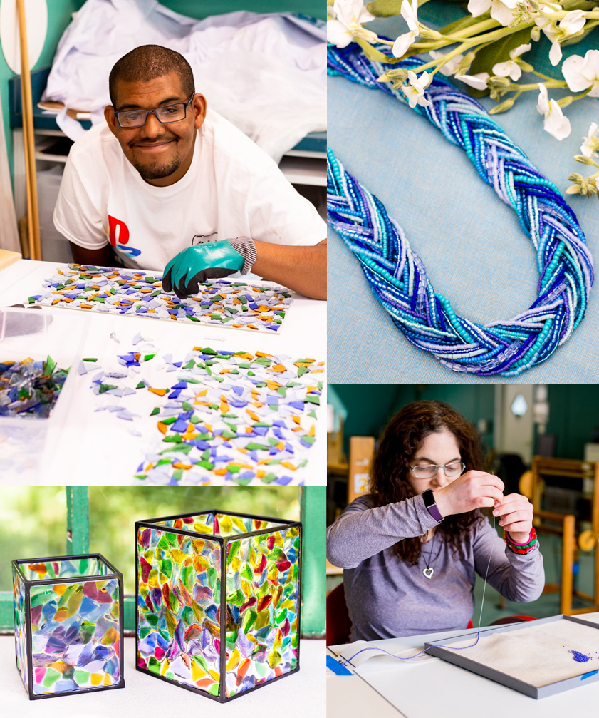 A collage of artisans and their handmade products